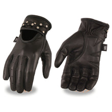 Ladies Black Leather Driving Glove w/ Gel Pam & Studs - HighwayLeather