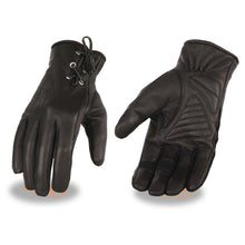 Ladies Leather Riding Glove w/ Gel Pam & Laced Wrist - highwayleather