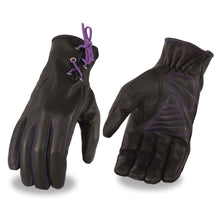 Ladies Leather Riding Glove w/ Gel Pam & Purple Lacing - HighwayLeather