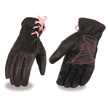Ladies Leather Riding Glove w/ Gel Pam & Pink Lacing - highwayleather