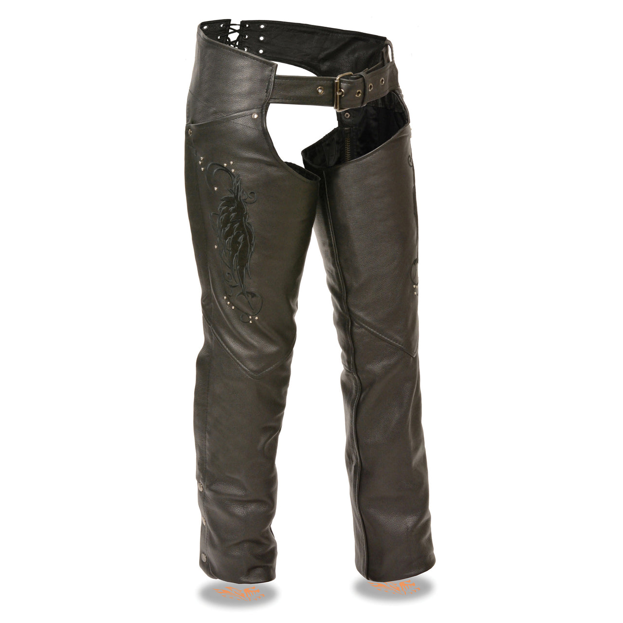 Ladies Chap w/ Wing Embroidery And Rivet Detailing - HighwayLeather