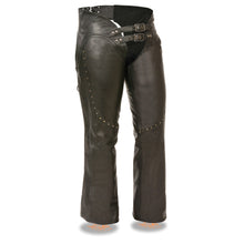 Ladies Low Rise Double Buckle Chap w/ Rivet Detailing - HighwayLeather