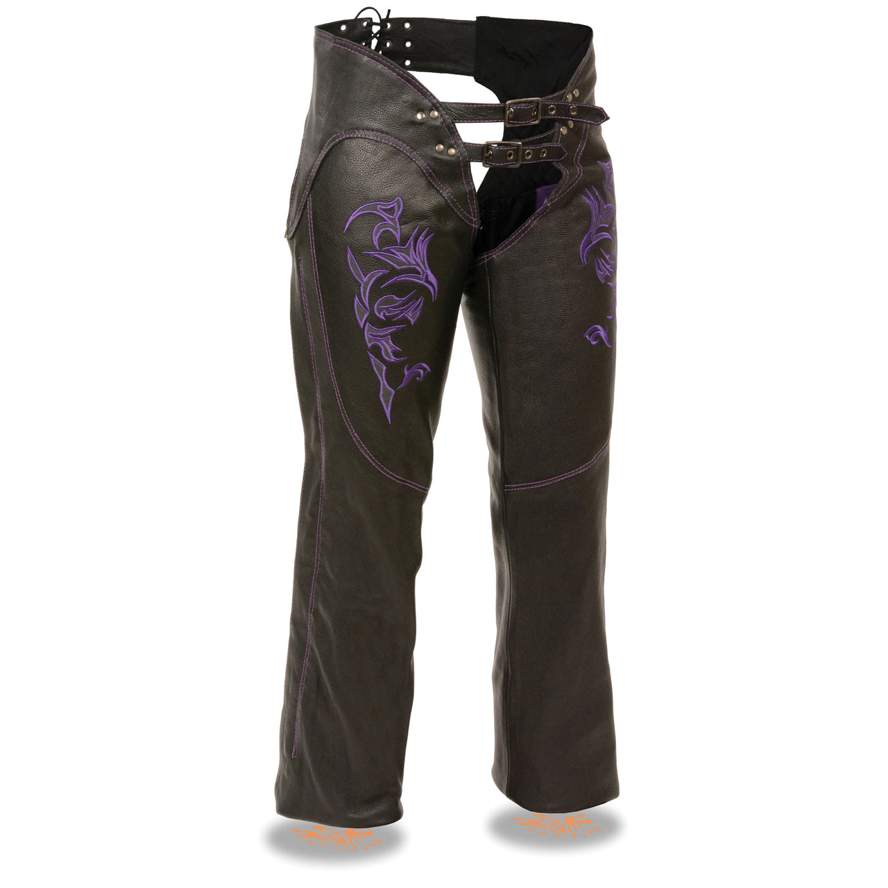 Ladies Chap w/ Reflective Tribal Embroidery - highwayleather
