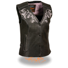 Women's Vest w/ Reflective Tribal Design & Piping - HighwayLeather