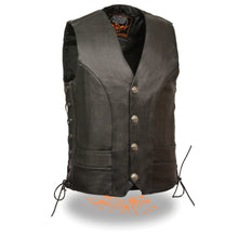Men's Premium Side Lace Vest w/ Buffalo Snaps - highwayleather