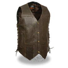 Men's Retro Brown 10 Pocket Side Lace Vest - highwayleather