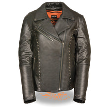 Women's Classic M/C Jacket w/ Rivet Detailing - highwayleather