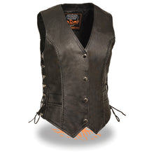Ladies Snap Front Vest w/ Thin Braid - HighwayLeather