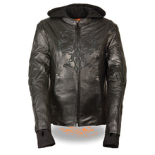 Ladies 3/4 Jacket w/ Reflective Tribal Detail - HighwayLeather