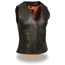 Women's Zipper Front Vest w/ Studding Detail - HighwayLeather
