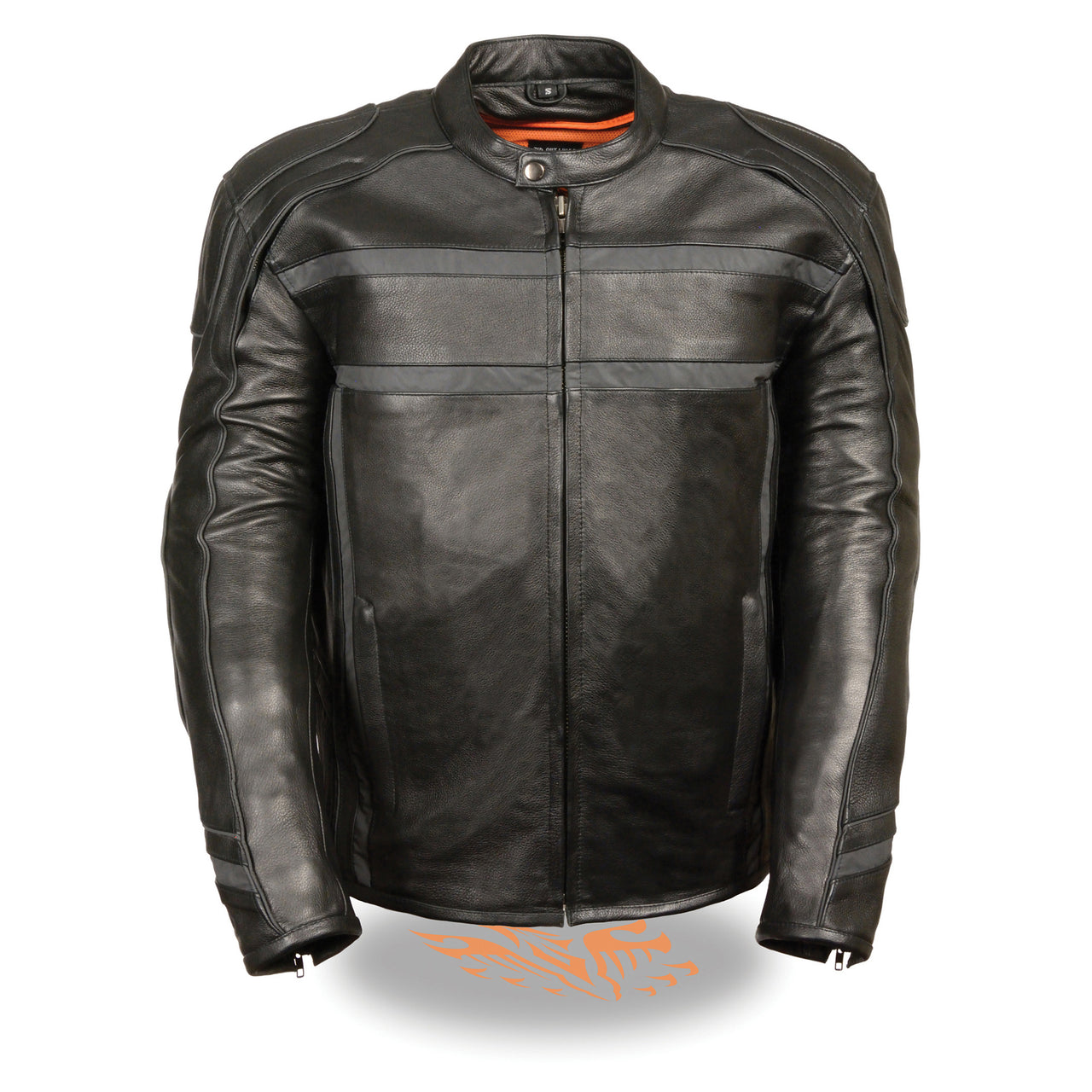 Men's Reflective Band & Piping Scooter Jacket - HighwayLeather