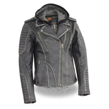 Women's Rub-off M/C Jacket w/ Full Hoodie Jacket Liner - HighwayLeather