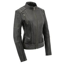 Women Distressed Black Leather Jacket with Lace - HighwayLeather