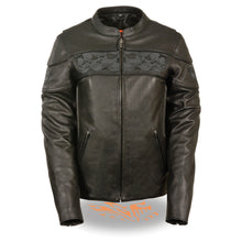 Women's Crossover Scooter Jacket w/ Reflective Skulls - highwayleather