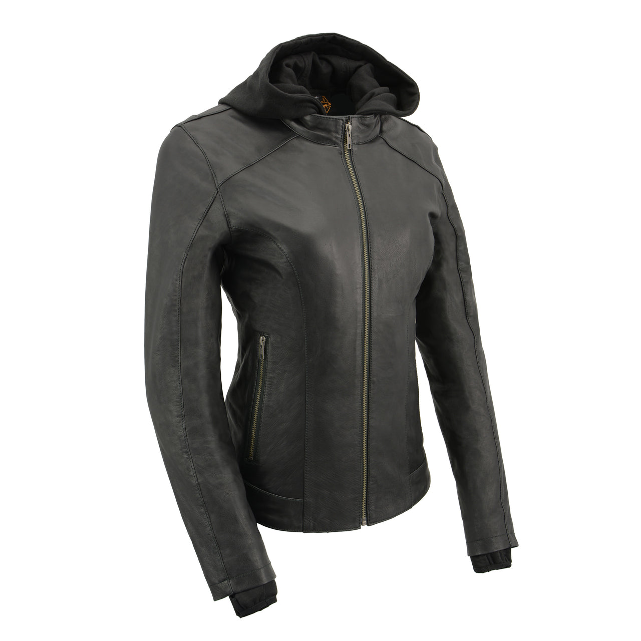 Women Lightweight Black Leather Jacket with Full Sleeve Removable Hoodie - HighwayLeather