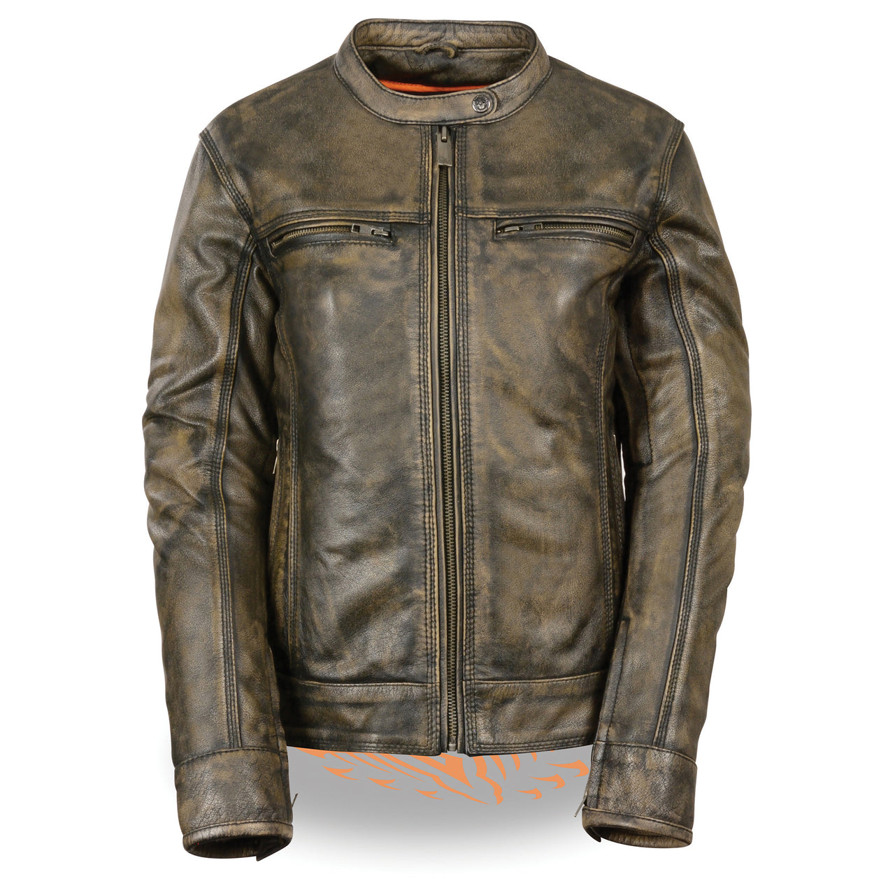 Women's Brown Distressed Scooter Jacket w/ Venting - HighwayLeather