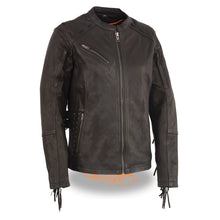 Ladies Lightweight Scuba Racer Jacket w/ Fringe - HighwayLeather