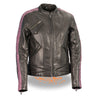 Ladies Lightweight Black Racer Jacket w/ Crinkled Arm Detailing - HighwayLeather