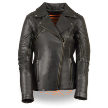 Women's Long Length Beltless Vented Biker Jacket - highwayleather