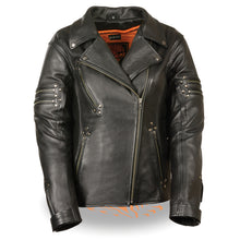 Ladies Fitted Beltless M/C Jacket w/ Rivet Detailing - HighwayLeather