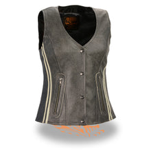 Women's Vintage Slate Snap Front Vest w/ Racing Stripes - HighwayLeather
