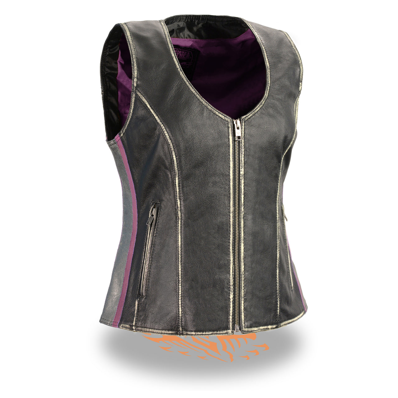 Women's Rub-off Black & Silver Zipper Front Vest - HighwayLeather