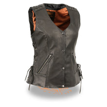 Women's Lightweight Lace to Lace Snap Front Vest - MLL4525 - HighwayLeather