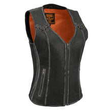 Women Distressed Black Leather Vest - HighwayLeather