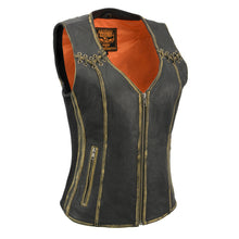 Women Distressed Brown Leather Vest with Lace design - HighwayLeather