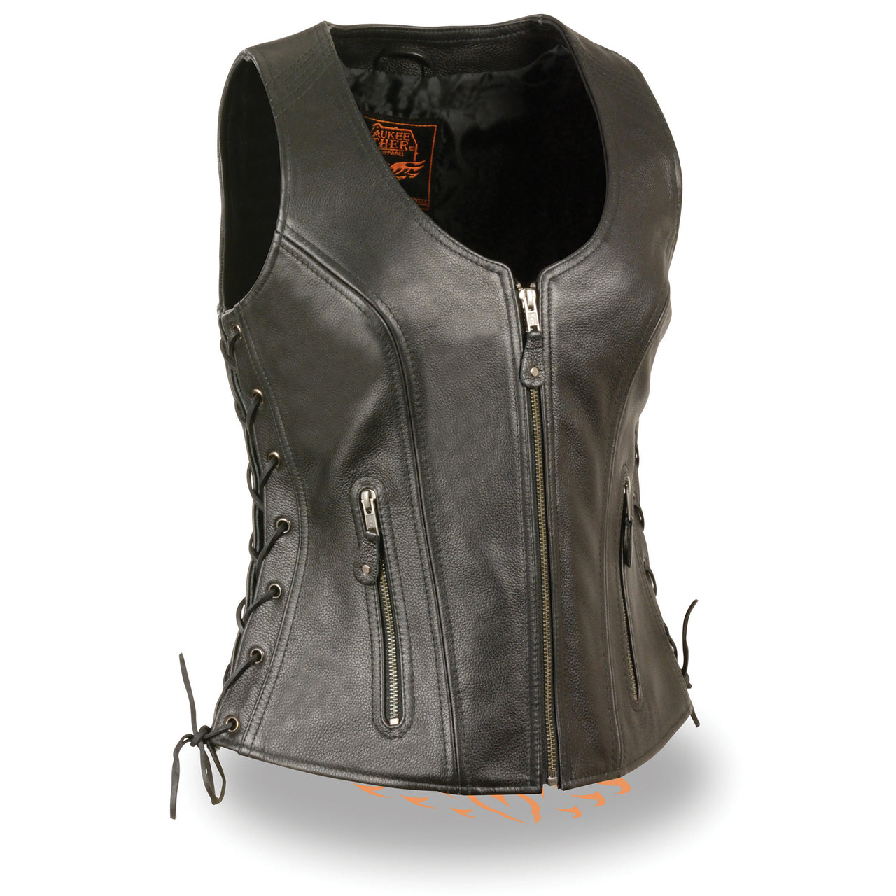 Ladies Open Neck Side Lace Zipper Front Vest - HighwayLeather