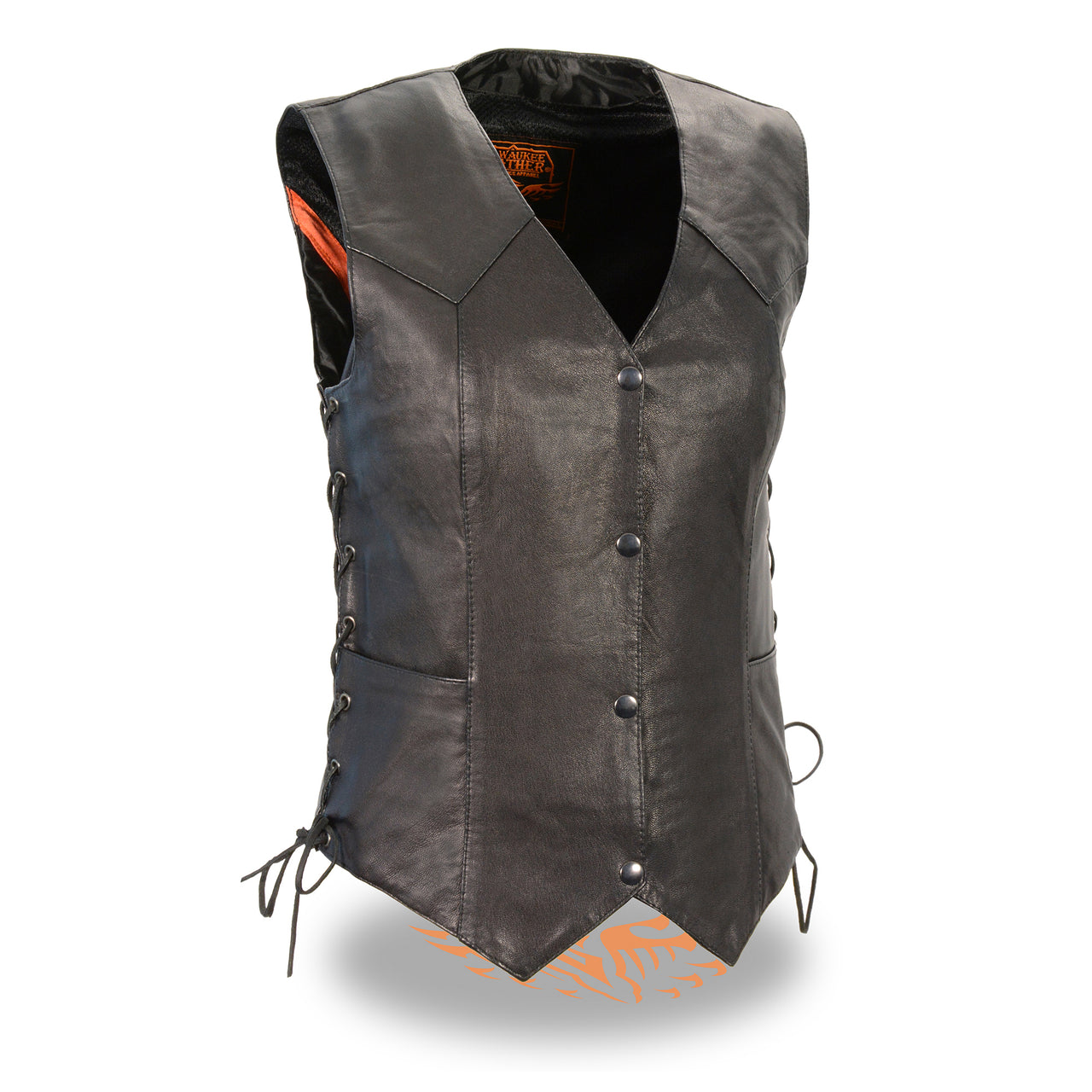 Ladies Lightweight Side Lace Four Snap Vest - HighwayLeather