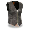 Ladies Lightweight Zipper Front Braided Vest - HighwayLeather