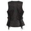 Ladies Black Snap Front Vest w/ Fringe - HighwayLeather