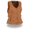 Ladies Saddle Tan Snap Front Vest w/ Fringe - HighwayLeather