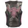 Ladies Snap Front Vest w/ Phoenix Studding & Embroidery - HighwayLeather
