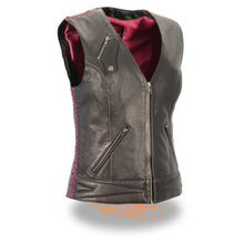 Ladies Lightweight Snap Front Vest w/ Crinkle Detailing - HighwayLeather