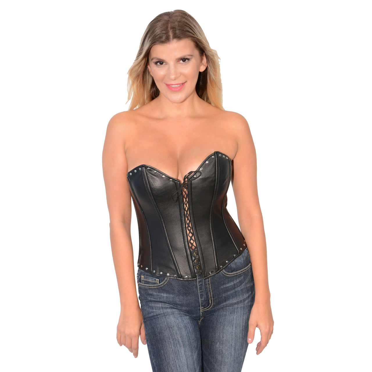Ladies Lambskin Open Front Studded Corset - HighwayLeather