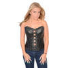 Ladies Lambskin Buckle Front Studded Corset - HighwayLeather