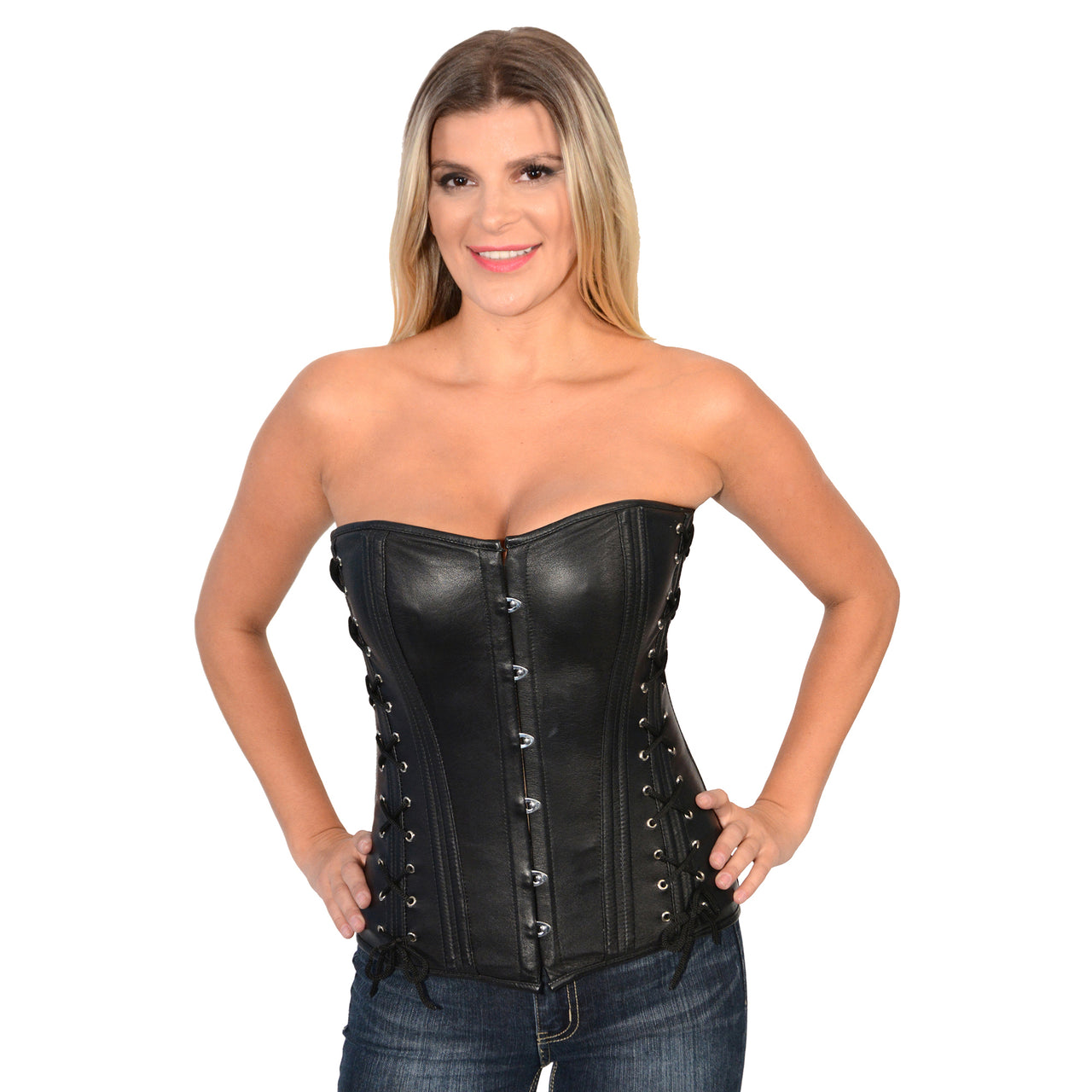 Ladies Lambskin Side Laced Corset - HighwayLeather