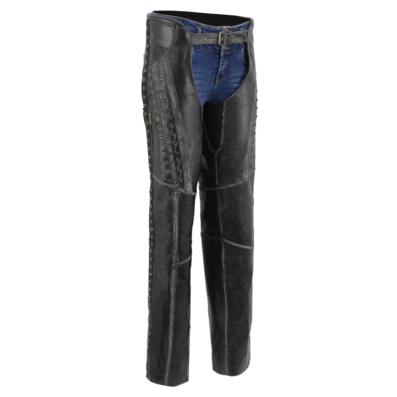 Women Distressed Black Beltless Leather Chaps  with Lace - HighwayLeather