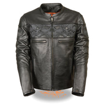 Men's Crossover Scooter Jacket w/ Reflective Skulls - HighwayLeather