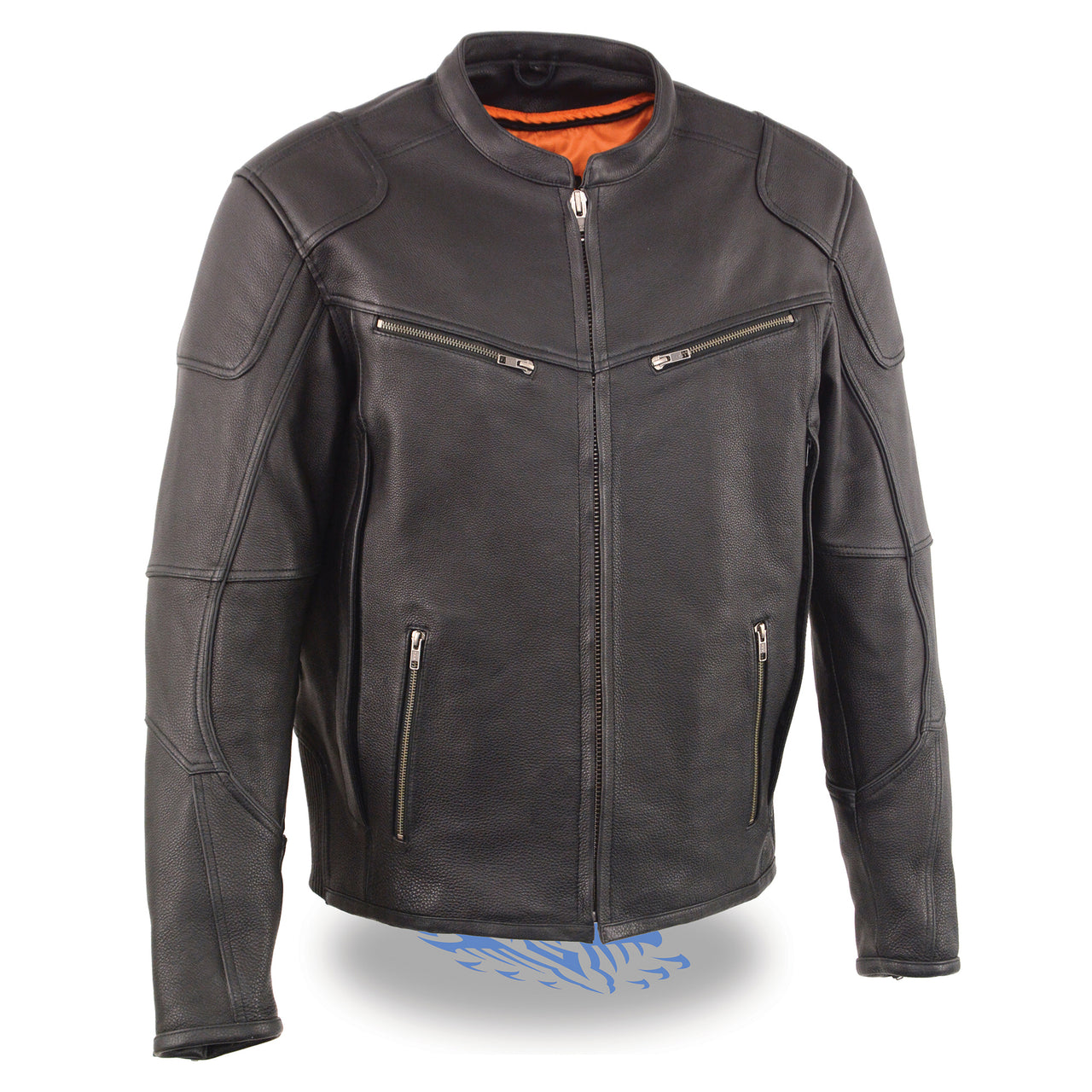 Men's Vented Scooter Jacket w/ Cool Tec® Leather &Side Stretch - HighwayLeather