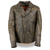 Men's Triple Stitch Extra Long Beltless Biker Jacket - HighwayLeather
