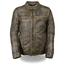 Men's Brown Distressed Scooter Jacket w/ Venting - HighwayLeather