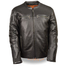 Men's Throwback Scooter Jacket w/ Side Stretch, Sleeve Embellishments - HighwayLeather