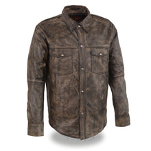 Men's Distressed Brown Lightweight Leather Snap Front Club Shirt - highwayleather