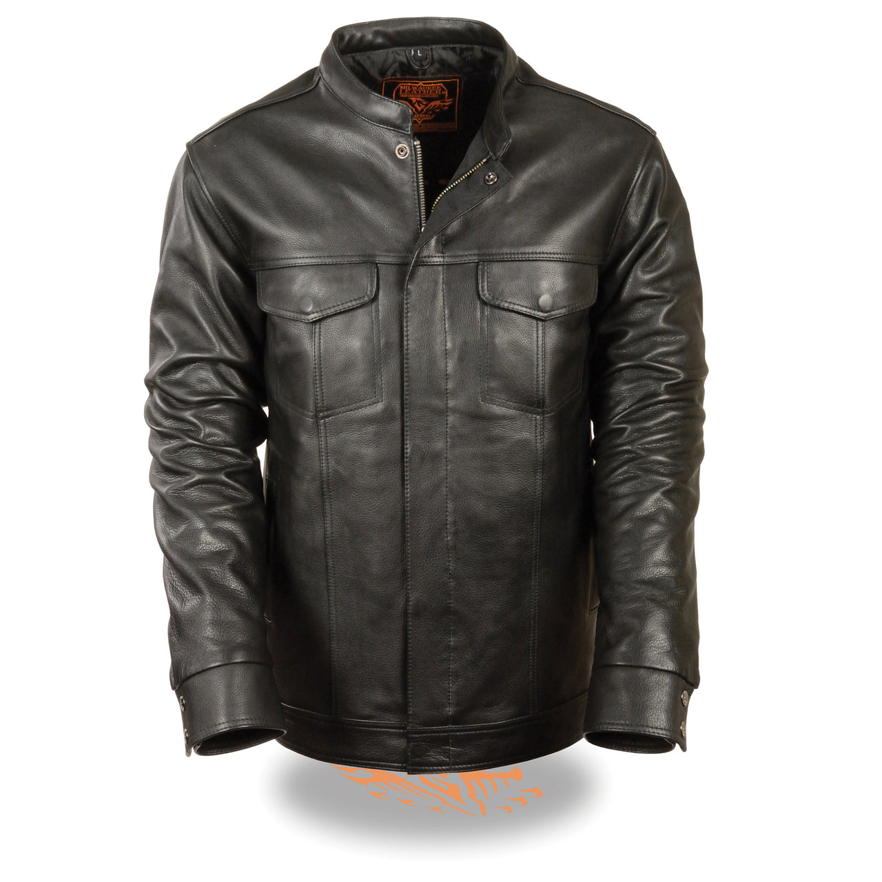 Men's Club Style Cut Zipper/Snap Front Shirt Jacket - HighwayLeather