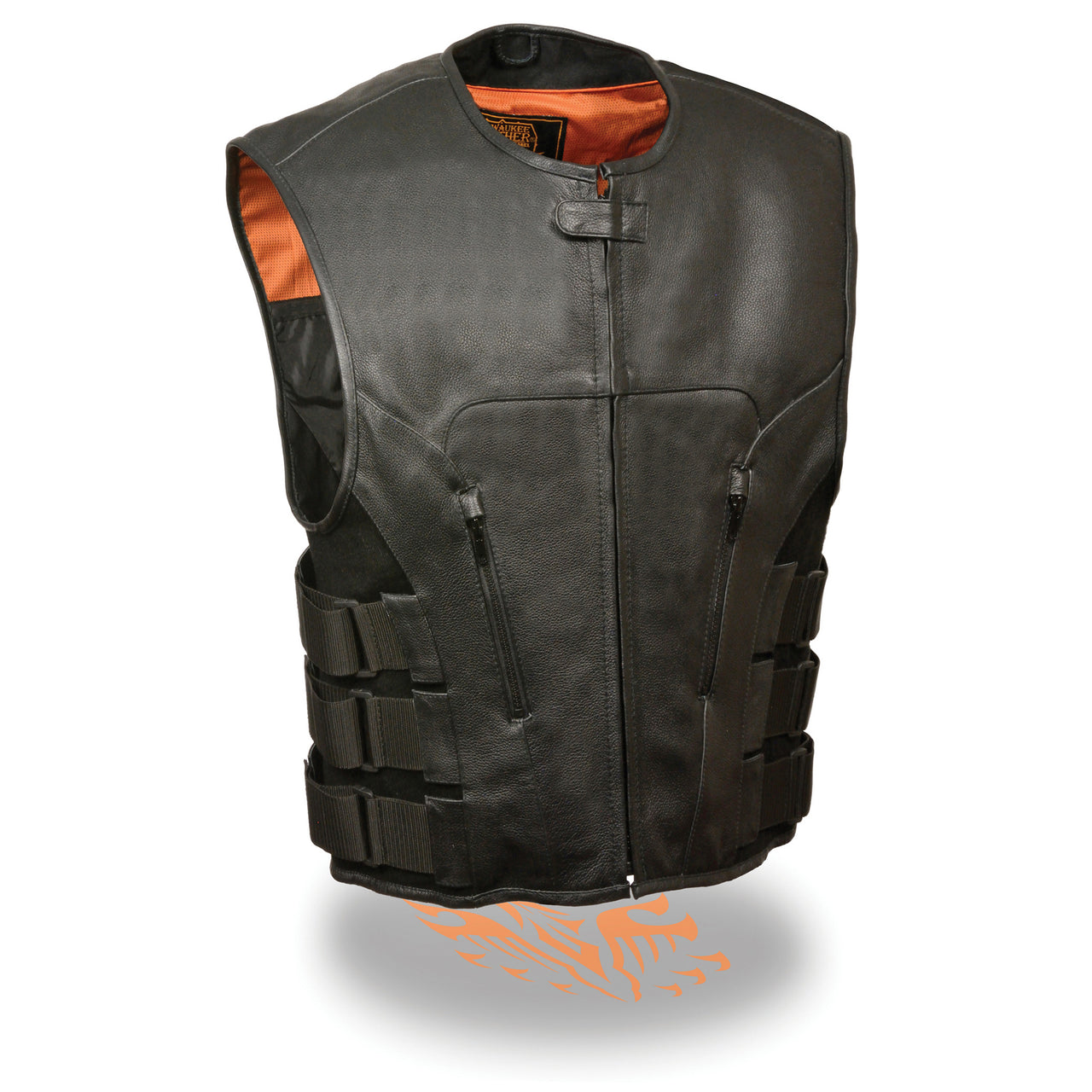 Men's SWAT Style Zipper Front Vest - highwayleather