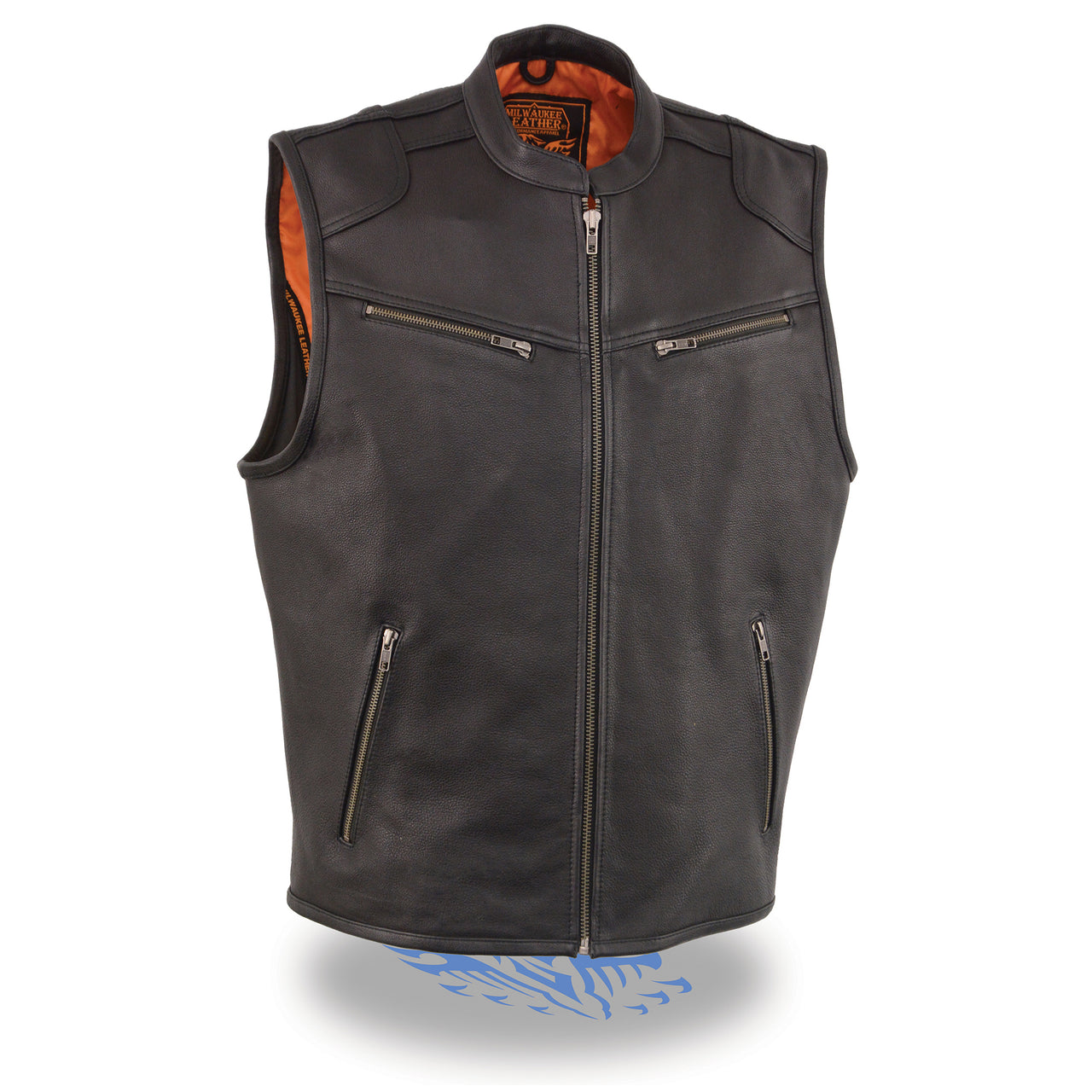 Men's Zipper Front Leather Vest w/ Cool Tec® Leather - HighwayLeather