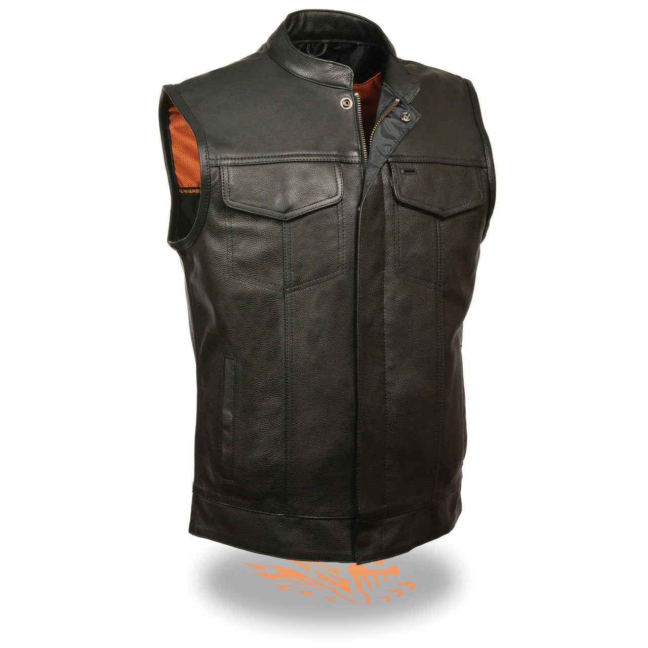 Men's Open Neck Snap/Zip Front Club Vest - HighwayLeather